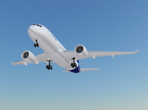 離陸中の貨物機のCGレンダリングイメージの写真素材 [FYI04648351]