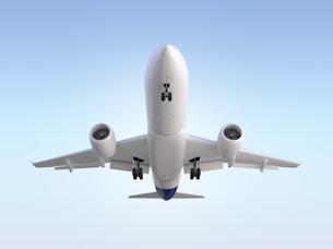 着陸中の飛行機の正面CGレンダリングイメージの写真素材 [FYI04648354]