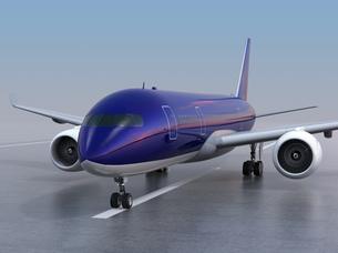 滑走路に待機する旅客機のCGレンダリングイメージの写真素材 [FYI04648355]