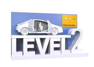 自動運転レベル分類のコンセプト。ドライバーが一時的操縦不要のレベル2、部分的な自動化の写真素材 [FYI04648359]