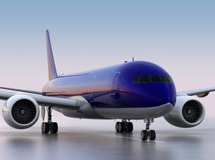 滑走路に待機する旅客機のCGレンダリングイメージの写真素材 [FYI04648360]