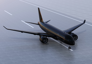 滑走路に待機する旅客機のCGレンダリングイメージの写真素材 [FYI04648363]