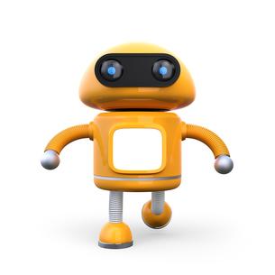 モニターにコピースペース付きのオレンジ色のロボットの写真素材 [FYI04648367]