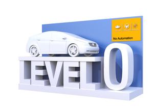 自動運転レベル分類のコンセプト。ドライバー操縦主体のレベル0、完全手動の写真素材 [FYI04648372]