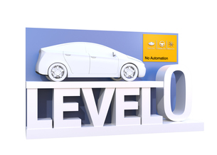 自動運転レベル分類のコンセプト。ドライバー操縦主体のレベル0、完全手動の写真素材 [FYI04648373]