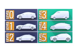 自動運転レベル分類(レベル0~5)のコンセプトイメージの写真素材 [FYI04648380]