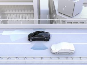 自動運転車の車線維持及び死角検知支援のコンセプトイメージの写真素材 [FYI04648391]