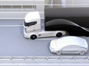 自動運転車の車線変更及び死角検知支援のコンセプトイメージ(イラストなし)のイラスト素材 [FYI04648413]