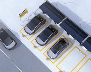 ソーラーパネル、急速充電器が備えるカーシェアリング専用駐車場のイメージの写真素材 [FYI04648459]