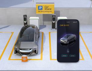 カーシェアリング専用駐車場とスマホアプリ。スマホアプリで指定車のドアロックを解除するイメージの写真素材 [FYI04648460]
