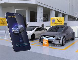 カーシェアリング専用駐車場とスマホアプリ。スマホアプリで指定車のドアロックを解除するイメージの写真素材 [FYI04648465]