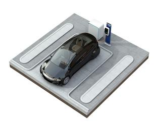 蓄電池が備えた急速充電スタンドに充電する電気自動車のイメージの写真素材 [FYI04648478]