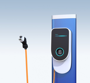 EV急速充電スタンドと充電コネクタのイメージの写真素材 [FYI04648487]