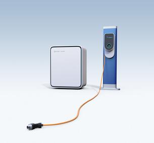 EV急速充電スタンド、蓄電池と充電コネクタのイメージの写真素材 [FYI04648488]