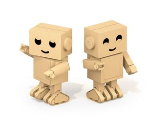 白バックにかわいいダンボール箱ロボットのイメージの写真素材 [FYI04648511]