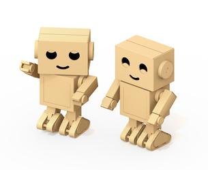 白バックにかわいいダンボール箱ロボットのイメージの写真素材 [FYI04648512]