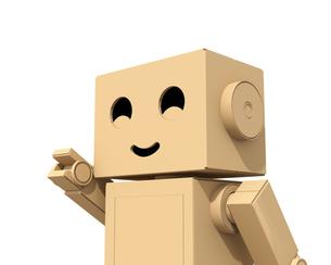 ダンボール箱のロボットが右手を前に指しているイメージの写真素材 [FYI04648513]