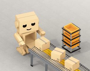 ベルトコンベアに荷物を運搬する段ボール箱のロボットのイメージの写真素材 [FYI04648515]
