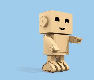 かわいい段ボール箱のロボットのイメージ。コピースペース付きの写真素材 [FYI04648516]