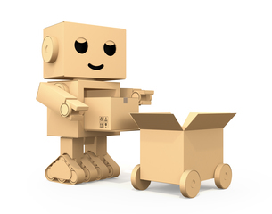 宅配車に荷物を運搬するダンボール箱のロボットのイメージの写真素材 [FYI04648517]