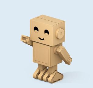 ダンボール箱のロボットが右手を前に指しているアイソメ投影イメージの写真素材 [FYI04648520]