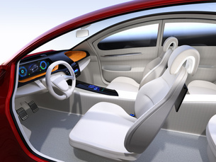 自動運転EV車のインパネのイメージ。オリジナルデザインの写真素材 [FYI04648521]