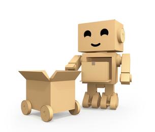 宅配車に荷物を運搬するダンボール箱のロボットのイメージの写真素材 [FYI04648522]