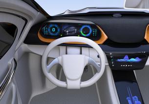 自動運転EV車のダッシュボードのイメージの写真素材 [FYI04648523]