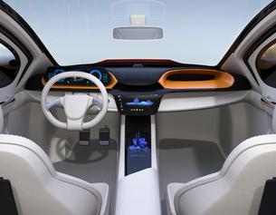 自動運転EV車のインパネのイメージ。オリジナルデザインの写真素材 [FYI04648524]