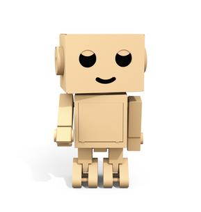 かわいい段ボール箱のロボットの正面イメージの写真素材 [FYI04648526]