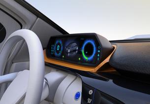 自動運転EV車のデジタルメーターのイメージの写真素材 [FYI04648528]
