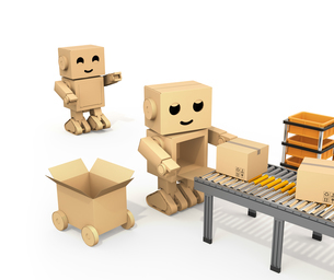 ベルトコンベアに荷物を運搬する段ボール箱のロボットのイメージの写真素材 [FYI04648531]