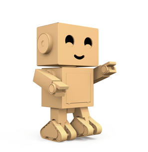 ダンボール箱のロボットが右手を前に指しているイメージの写真素材 [FYI04648532]
