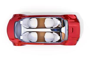 自動運転電気自動車のインテリアレイアウトの俯瞰カットイメージの写真素材 [FYI04648537]
