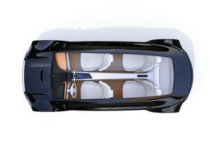 メタリックブラック色の電気自動車の俯瞰イメージの写真素材 [FYI04648539]