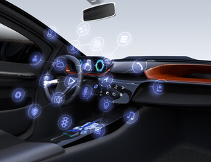 運転席にあるコネクテッドカーのアイコンセット。モノのインターネットのコンセプトの写真素材 [FYI04648560]