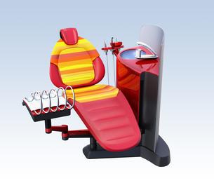 メタリックレッドデンタルユニット。フロスト調パーティションに患者歯列情報が表示されているの写真素材 [FYI04648563]