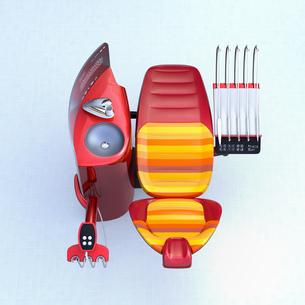 メタリックレッドデンタルユニット。フロスト調パーティションに患者歯列情報が表示されているの写真素材 [FYI04648565]