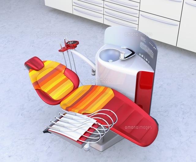 デンタルオフィスのインテリアイメージ。白色基ユニット、キャビネットに赤色のシートとアクセントカラーのイラスト素材 [FYI04648569]