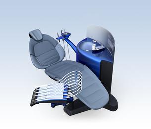 メタリックブルーのデンタルユニットのパーティションに患者歯列情報が表示されているのイラスト素材 [FYI04648570]