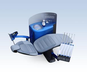 メタリックブルーのデンタルユニットのパーティションに患者歯列情報が表示されているのイラスト素材 [FYI04648571]