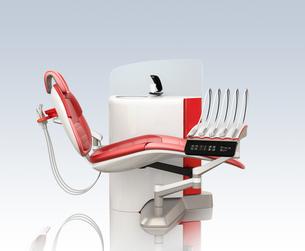 スノーホワイト基調のデンタルユニットに赤色アクセントのシートカラー。オリジナルデザインの写真素材 [FYI04648579]