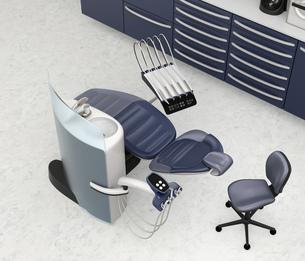 メタリックブルー基調で統一されたシックなデンタルオフィスのインテリアイメージのイラスト素材 [FYI04648582]