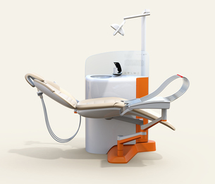デンタルユニットの側面イメージ。パーティションに患者歯列情報が表示されているの写真素材 [FYI04648583]