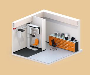 Con-beam CT、CADCAM設備が備えられている歯科画像処理ラボのアイソメイメージの写真素材 [FYI04648591]