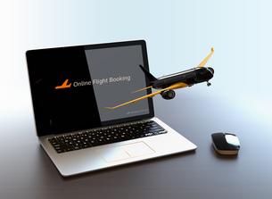 ノートパソコンから飛び立つ飛行機のイメージ。オンライン航空券発券サービスのコンセプトの写真素材 [FYI04648647]