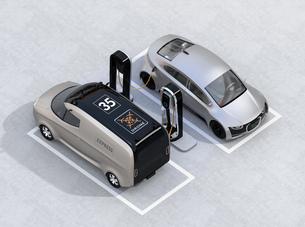 充電スタンドに充電している電気自動車のアイソメイメージの写真素材 [FYI04648660]