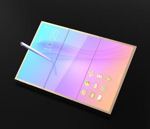 折りたたみ式スマートフォンが展開してタブレットPCとして使用するイメージのイラスト素材 [FYI04648668]