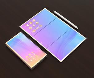 タッチペン、折りたたみ式スマートフォンとタブレット状に展開したスマートフォンのイラスト素材 [FYI04648673]