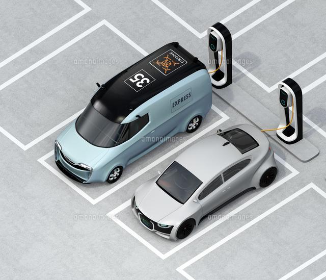 充電スタンドに充電している電気自動車のアイソメイメージの写真素材 [FYI04648675]